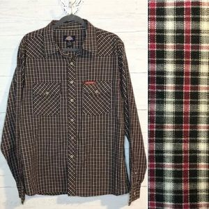 Dickies blue, red & cream plaid button down shirt